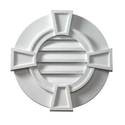 31-9/16 in. x 31-9/16 in. x 2-1/8 in. Polyurethane Decorative Round Louver with Flat Trim and Keystones