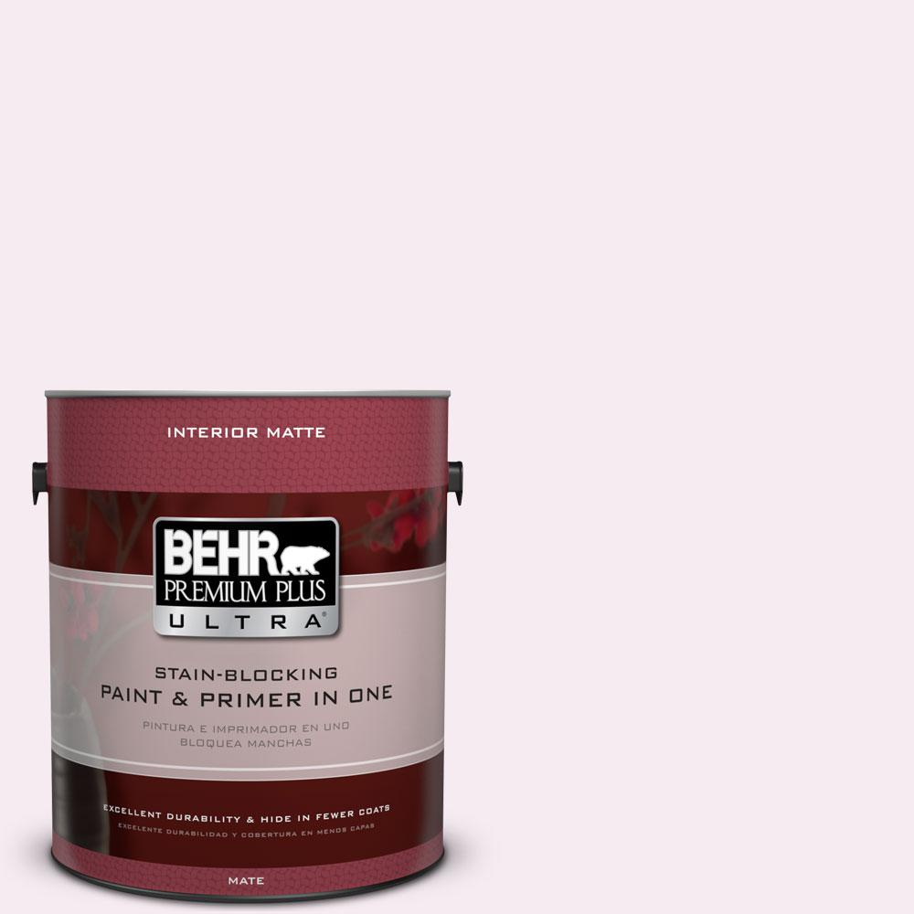 1 gal. #100A-1 Barely Pink Matte Interior Paint and Primer in