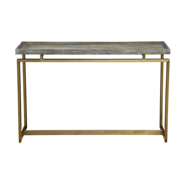 Biscayne 48 in. Weathered Gray/Gold Standard Rectangle Wood Console Table