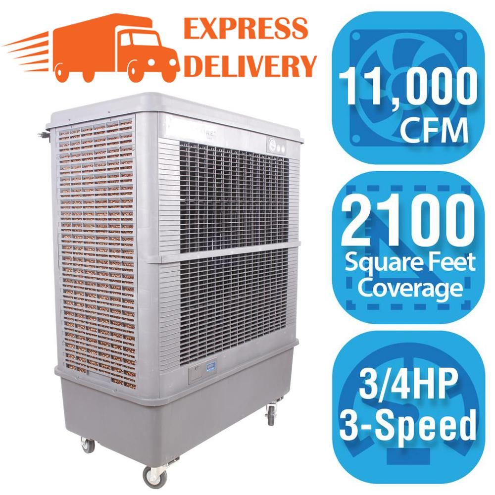 Hessaire 11 000 cfm 3 speed portable evaporative cooler for How much to build a 3000 sq ft house