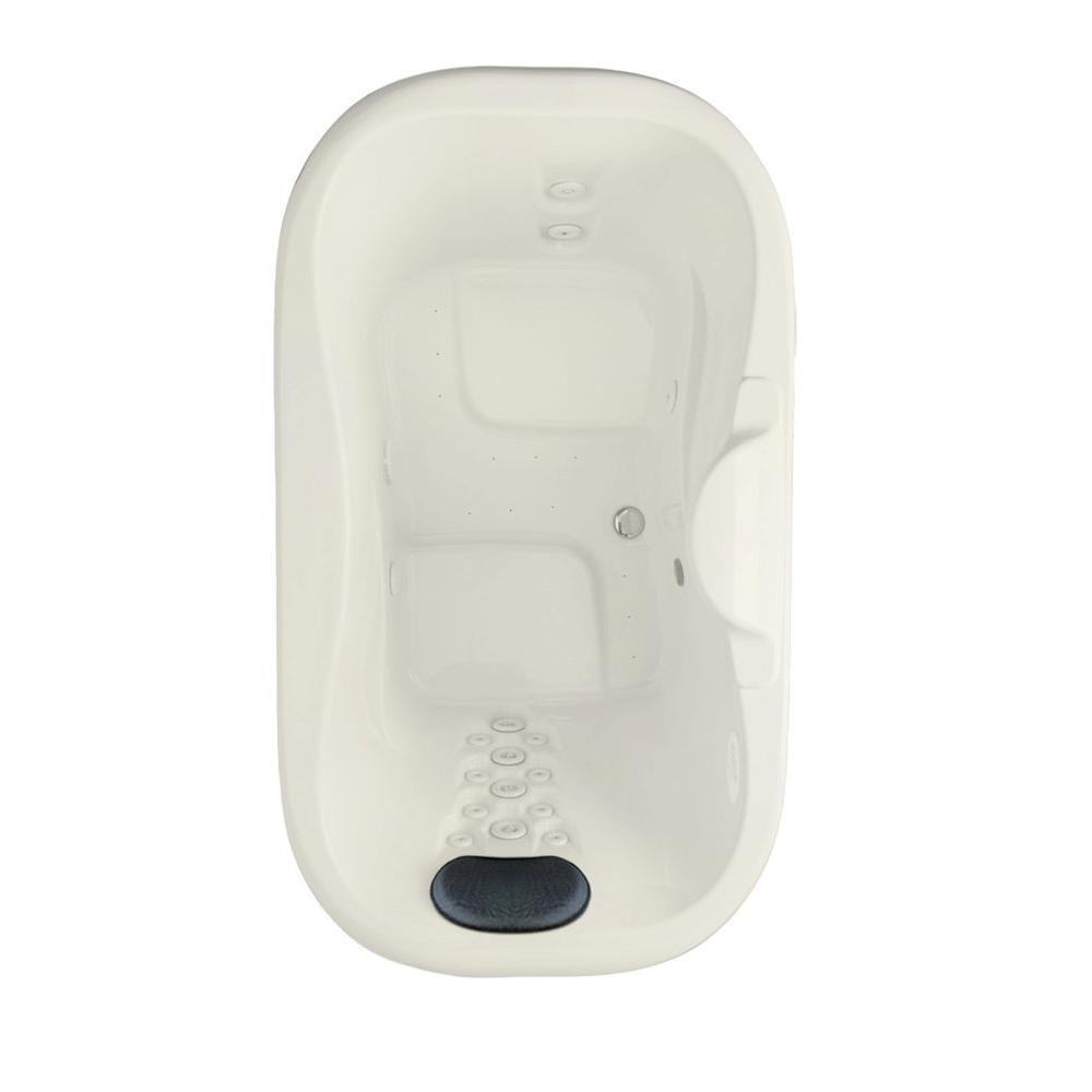 Aquatic Infinity 7 - 72 in.Acrylic Center Drain Oval Drop-In Air Bath/ Whirlpool Bathtub with Heater in Biscuit