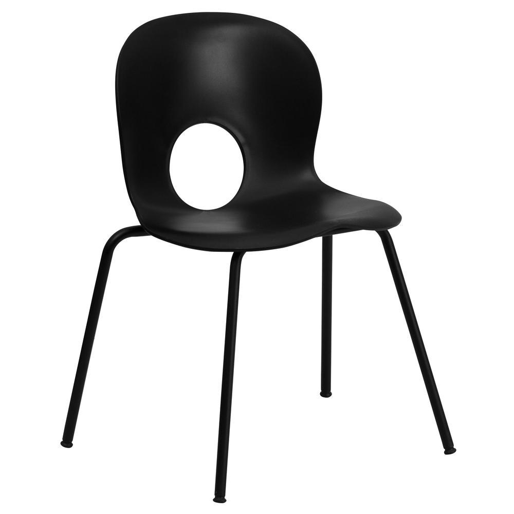 Carnegy Avenue Designer Black Plastic Stack Chair with Black Frame