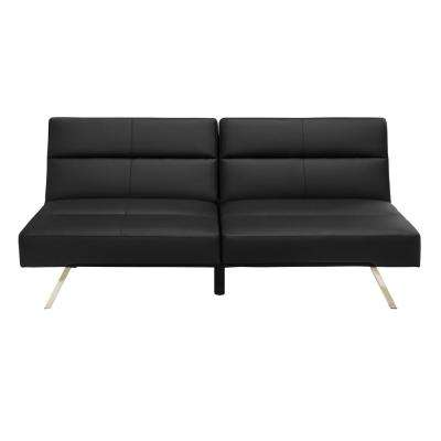 Studio Black Faux Leather Futon