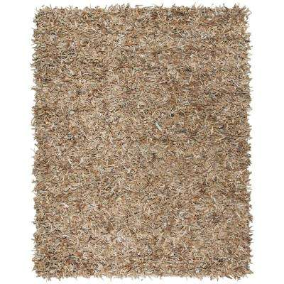 Leather Shag Beige 6 ft. x 9 ft. Area Rug