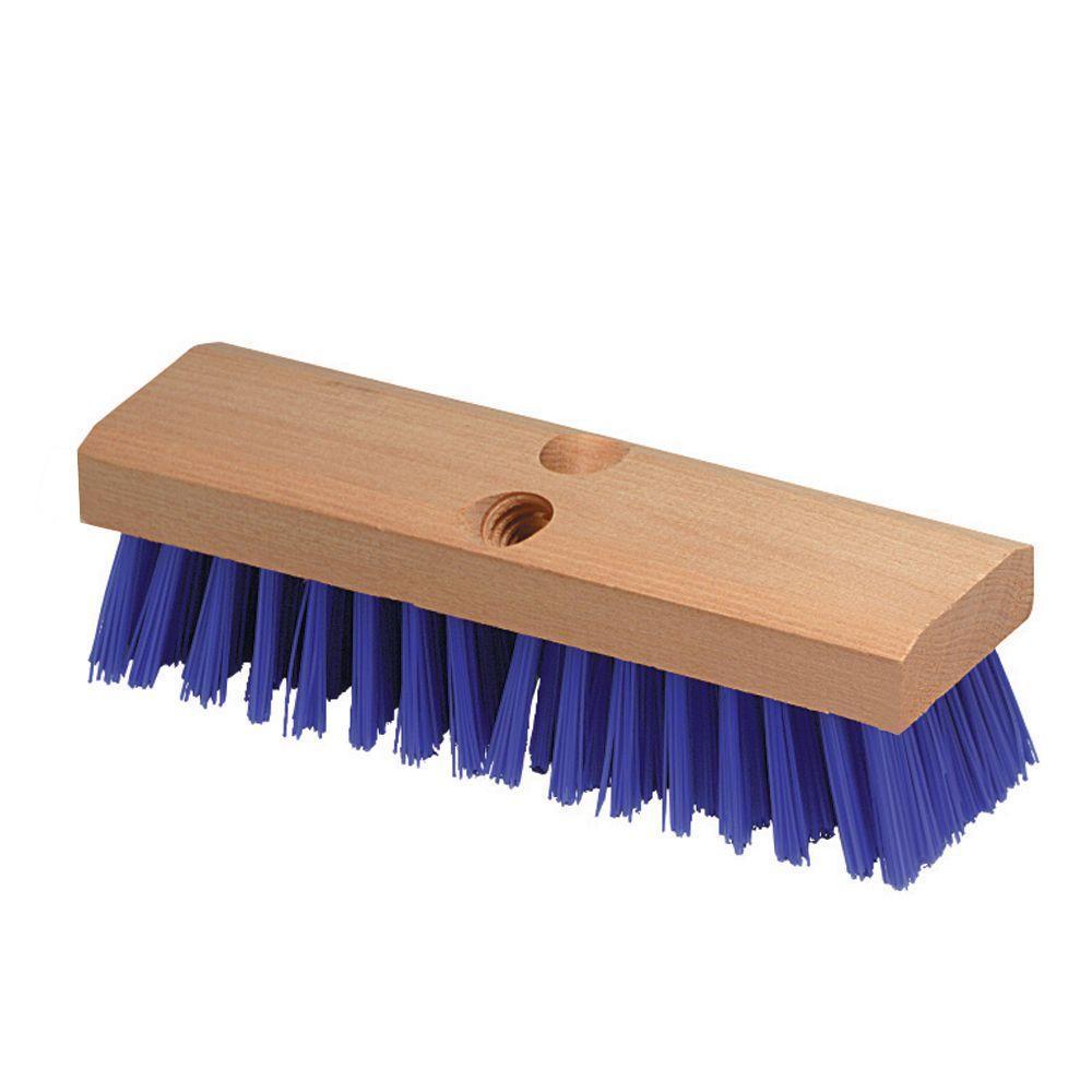 10 in. Deck Scrub Brush with Stiff Polypropylene Bristles in Blue (Case of 12)