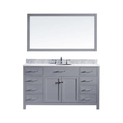Virtu USA Caroline 60 in. W Bath Vanity in Gray with Marble Vanity Top in White with Round Basin and Mirror