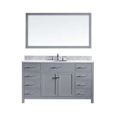 Caroline 60 in. W Bath Vanity in Gray with Marble Vanity Top in White with Round Basin and Mirror