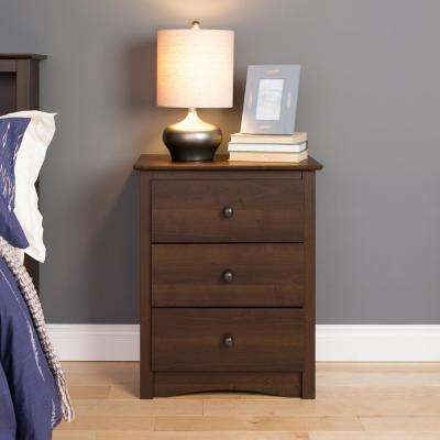 Fremont 3-Drawer Espresso Nightstand