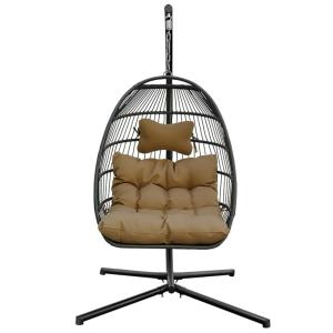 Modern Design 26 in. 1-Person Metal Patio Swing with CushionGuard Brown Cushion