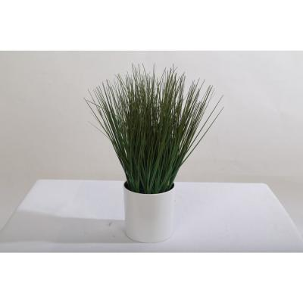14 in. PVC Grass in White Pot