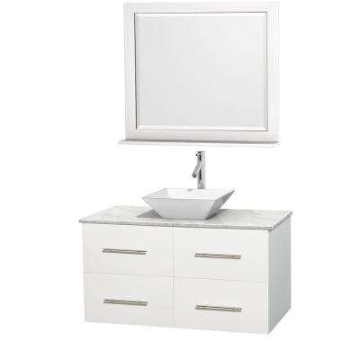 Centra 42 in. Vanity in White with Marble Vanity Top in Carrara White, Porcelain Sink and 36 in. Mirror