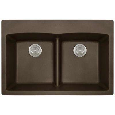 Drop-in Granite Composite 33 in. 5-Hole Equal Double Bowl Kitchen Sink in Mocha