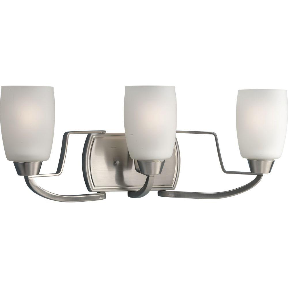 Progress Lighting Wisten Collection 3-Light Brushed Nickel Vanity Light with Etched Glass Shades
