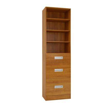 15 in. D x 24 in. W x 84 in. H Firenze Cognac Melamine with 4-Shelves and 3-Drawers Closet System Kit