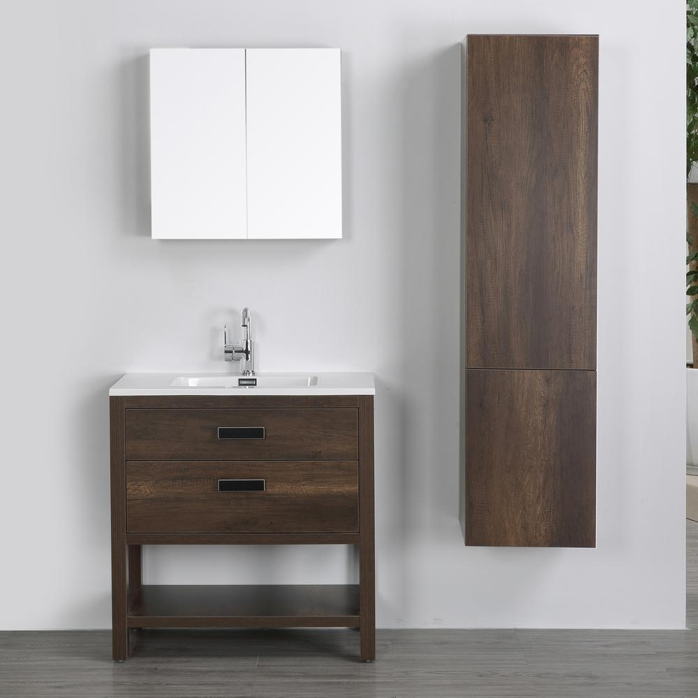 Streamline 31 5 In W X 32 3 In H Bath Vanity In Brown With Resin