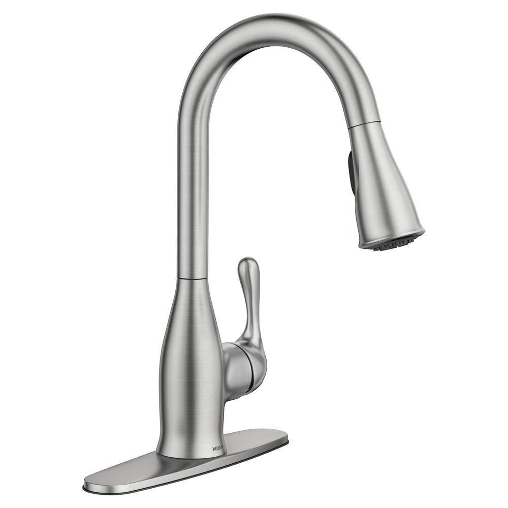 MOEN Kaden Single Handle Pull Down Sprayer Kitchen Faucet with #0: spot resist stainless moen pull down faucets srs 64 1000