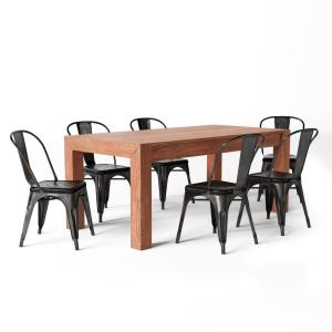Simpli Home Fletcher Industrial 7-Piece Dining Set with 6 ...