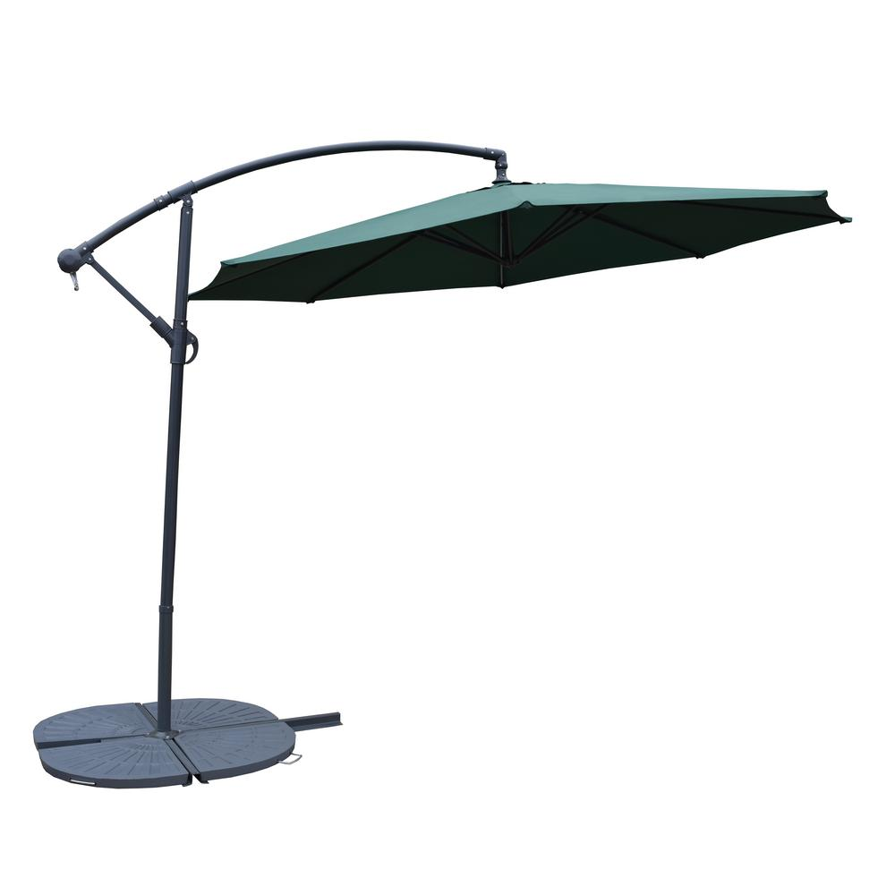 10 ft. Cantilever Patio Umbrella in Green with 4-Piece Cast Polyresin