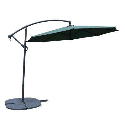 Cantilever Patio Umbrella In Green With 4 Piece Cast Polyresin Base