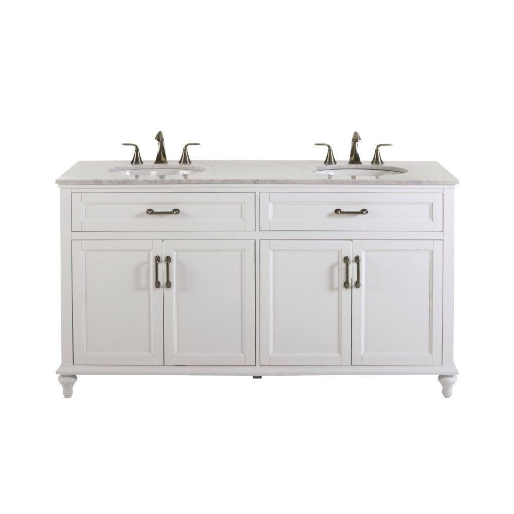 Home Decorators Collection Charleston 61 In W X 22 In D Double Bath Vanity In White With Natural Marble Vanity Top In White