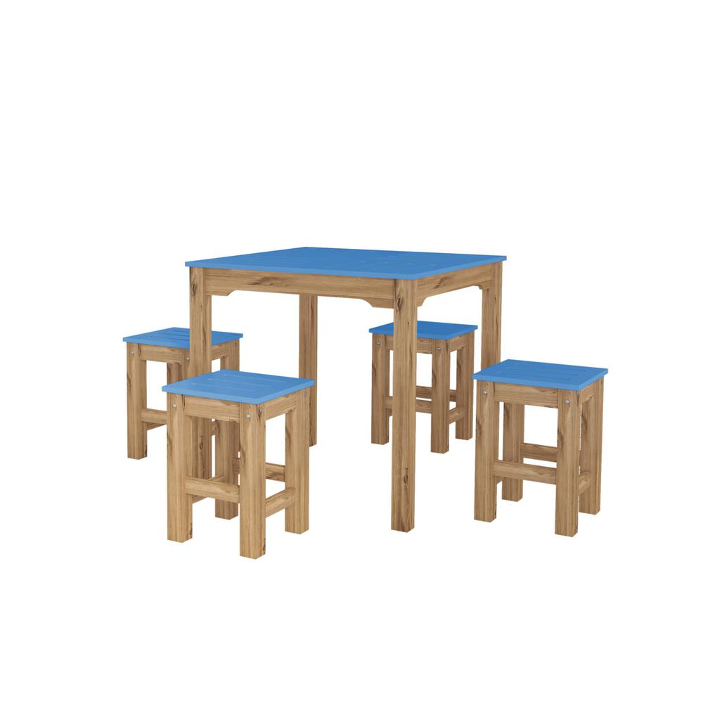 Stillwell 31.5 in. 5-Piece Blue and Natural Wood Square Dining Set