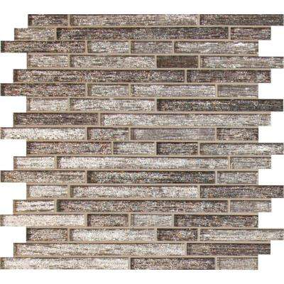 Luxe Interlocking 12 in. x 12 in. x 8 mm Glass Mesh-Mounted Mosaic Tile