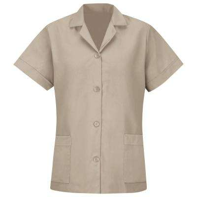 Women's Size L Tan Smock Loose Fit Short Sleeve