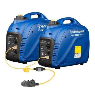 Combined 4,400-Watt, 3,600 Running Watt Super Quiet Gas Powered Inverter Generator Kit with Parallel Cord