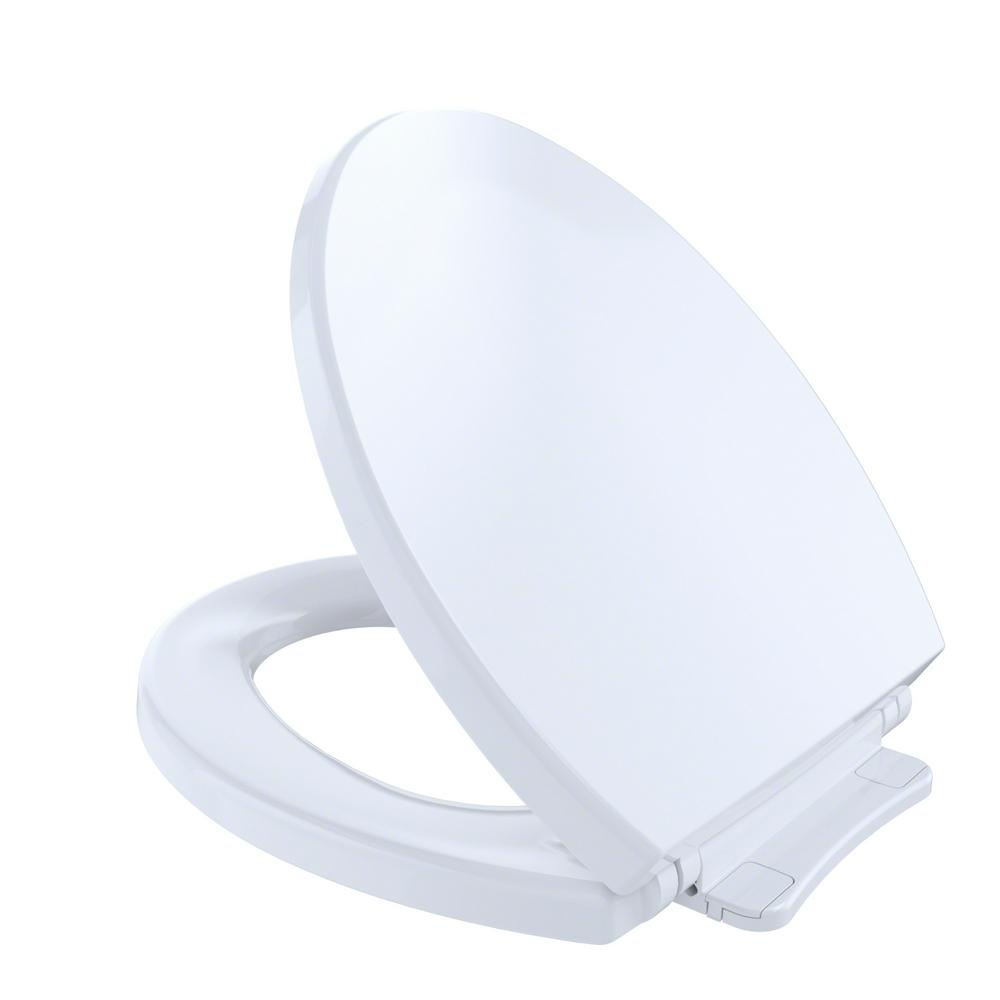 TOTO SoftClose Round Closed Front Toilet Seat in Cotton White-ss113 ...