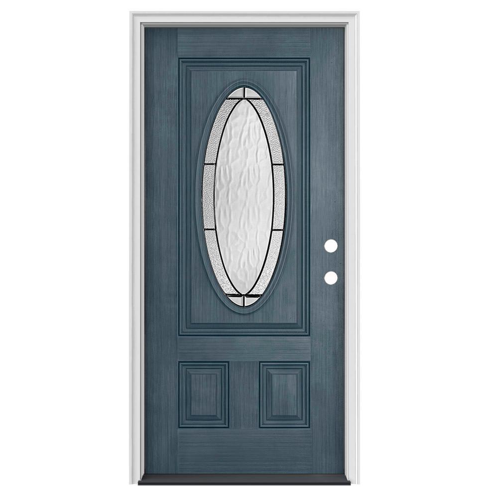 32 in. x 80 in. 3/4 Oval Lite Wendover Denim Stained Fiberglass Prehung Left-Hand Inswing Front Door
