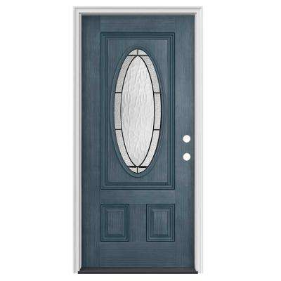 34 in. x 80 in. 3/4 Oval Lite Wendover Denim Stained Fiberglass Prehung Left-Hand Inswing Front Door