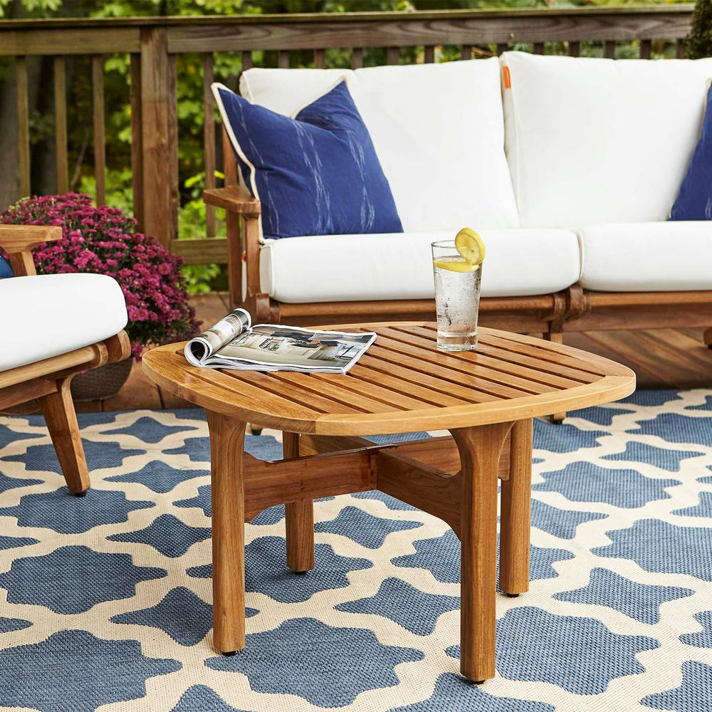 MODWAY Saratoga Teak Outdoor Coffee Table in Natural