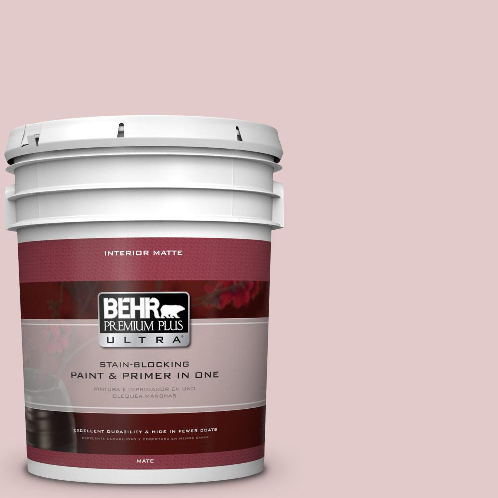 BEHR Premium Plus Ultra 5 gal. #160E-2 Pink Water Matte Interior Paint and Primer in One