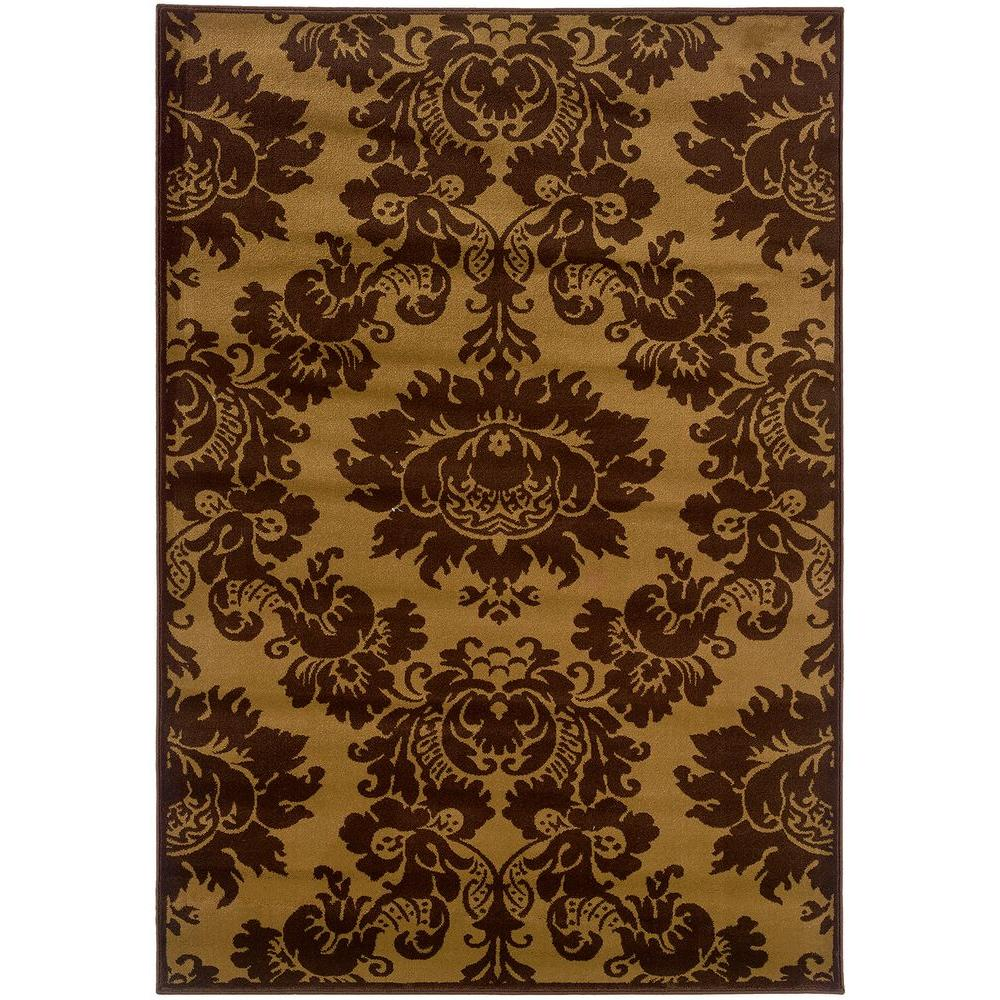 LR Resources Transitional Dark Yellow and Light Brown Rectangle 7 ft. 9 in. x 9 ft. 9 in. Plush Indoor Area Rug