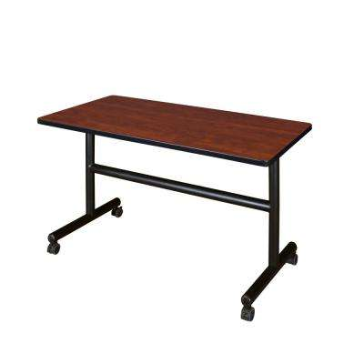 Kobe Cherry 48 in. W x 30 in. D Flip Top Mobile Training Table
