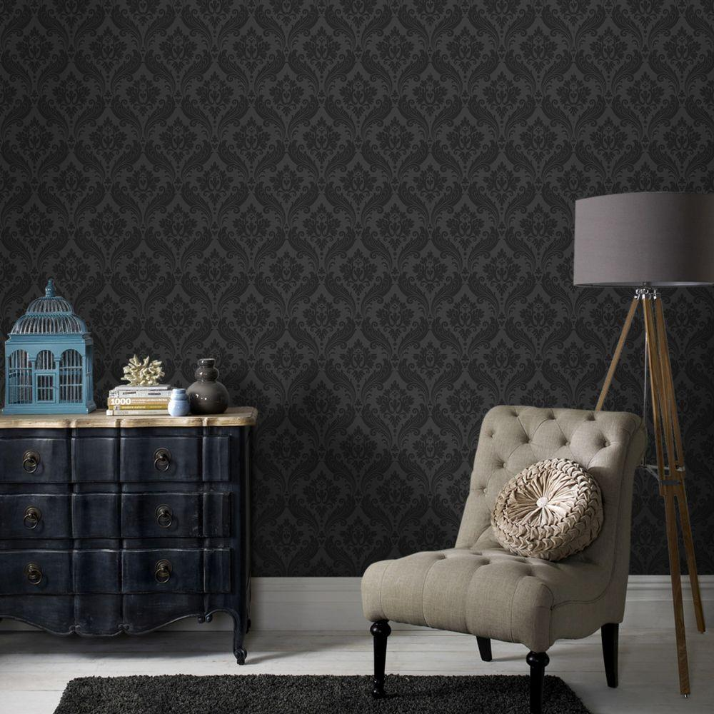 Graham & Brown Vintage Flock Black Removable Wallpaper