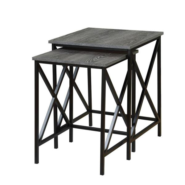 Tucson Weathered Gray and Black Nesting End Tables