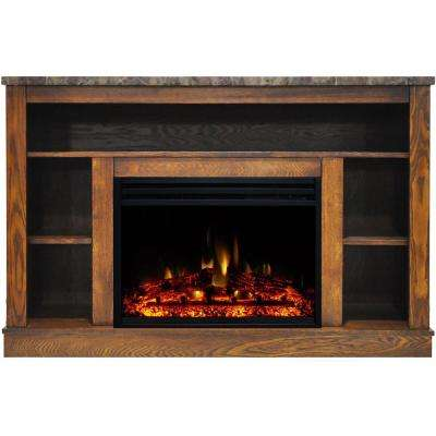 Seville 47 in. Electric Fireplace Heater TV Stand in Walnut with Enhanced Log Display and Remote Control