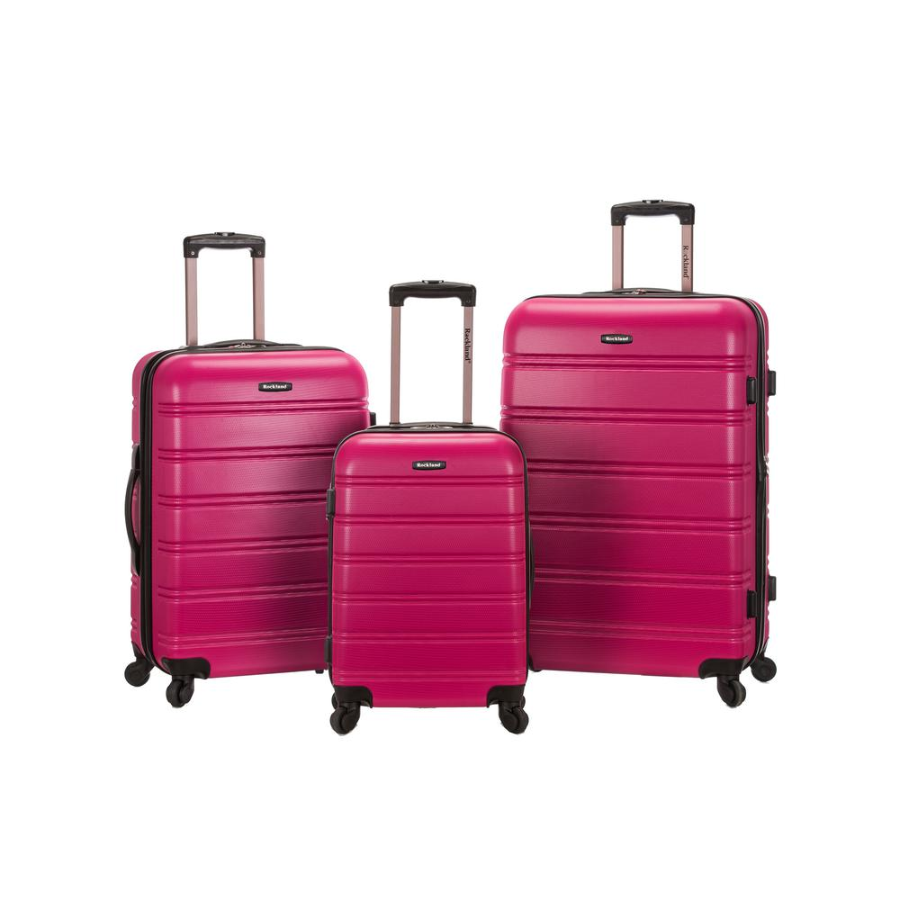 Rockland Melbourne 3-Piece Hardside Spinner Luggage Set, Magenta, Pink was $490.0 now $245.0 (50.0% off)