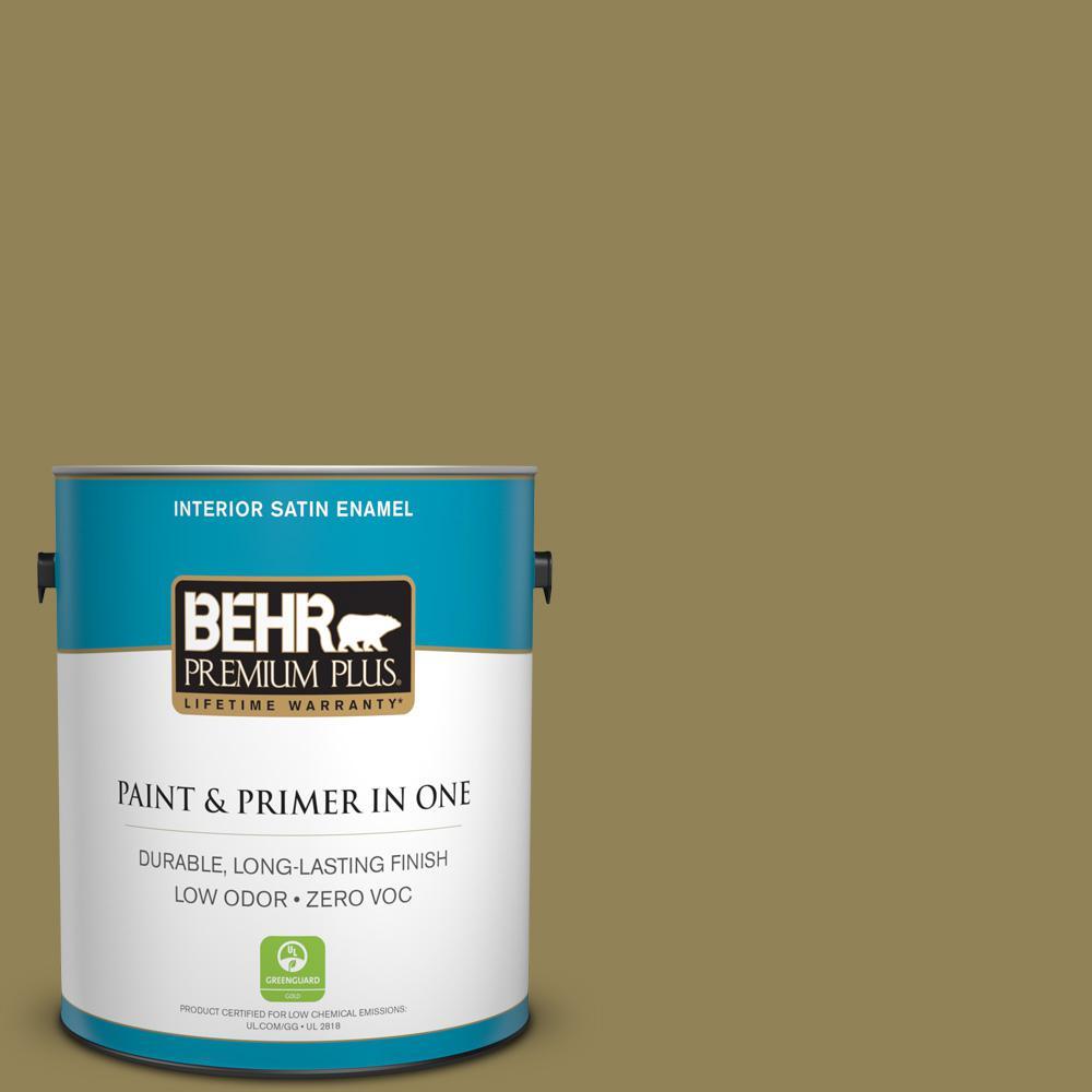 BEHR Premium Plus 1-gal. #S330-6 Dash of Oregano Satin Enamel Interior Paint