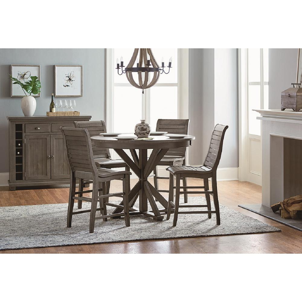ProgressiveFurniture Progressive Furniture Willow Distressed Dark Gray Round Counter Table