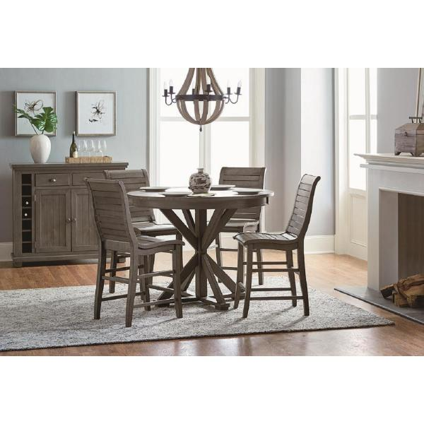 Progressive Furniture Willow Distressed Dark Gray Round Counter Table D801 15b 15t The Home Depot