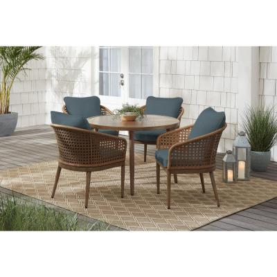 Coral Vista 5-Piece Brown Wicker and Steel Outdoor Patio Dining Set with Sunbrella Denim Blue Cushions