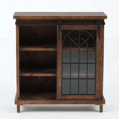Walnut Classic Design Console Cabinet with Sliding Door