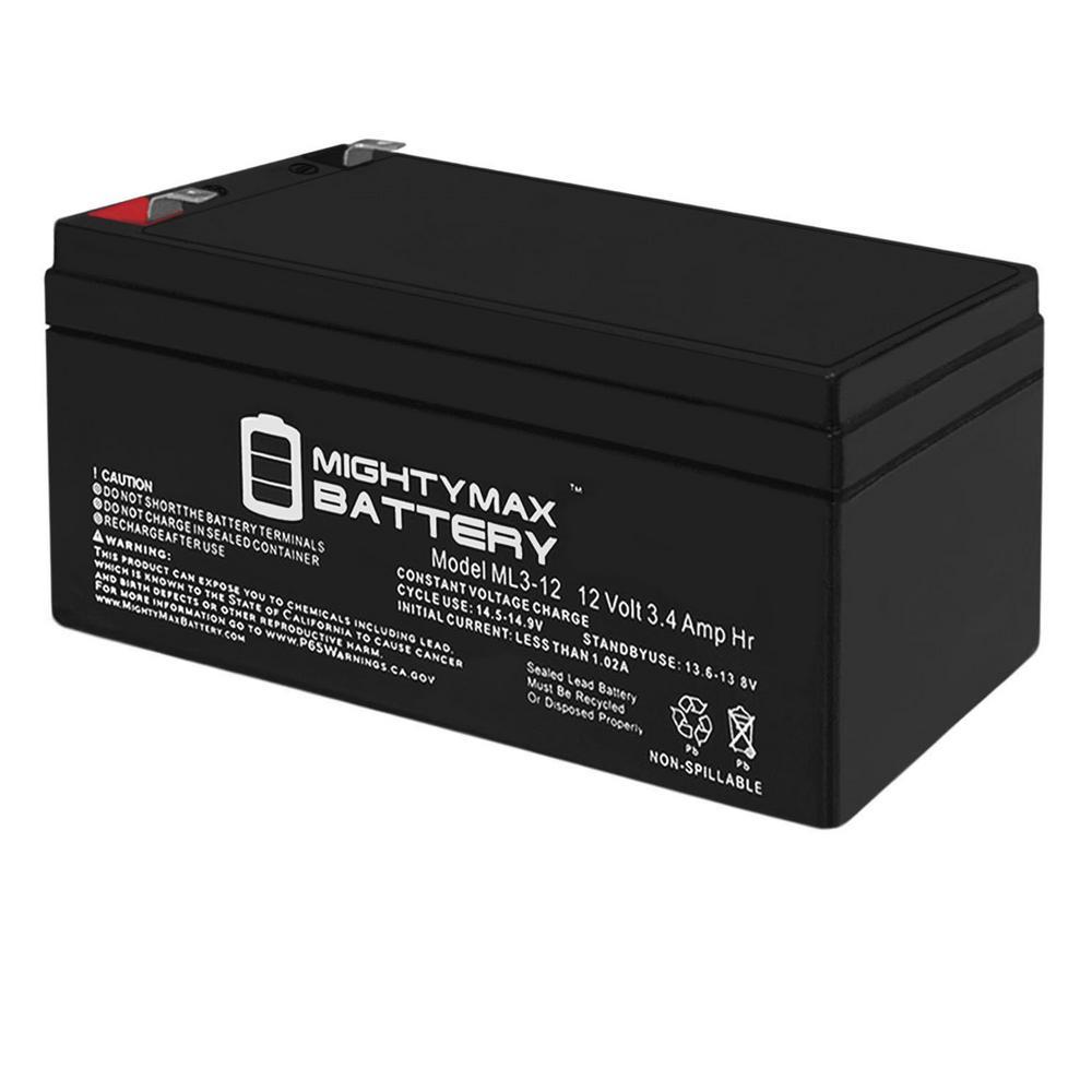 12-Volt 3 Ah Sealed Lead Acid (SLA) Battery Includes 12-Volt Charger