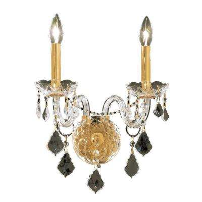 3-Light Gold Wall Sconce with Clear Crystal
