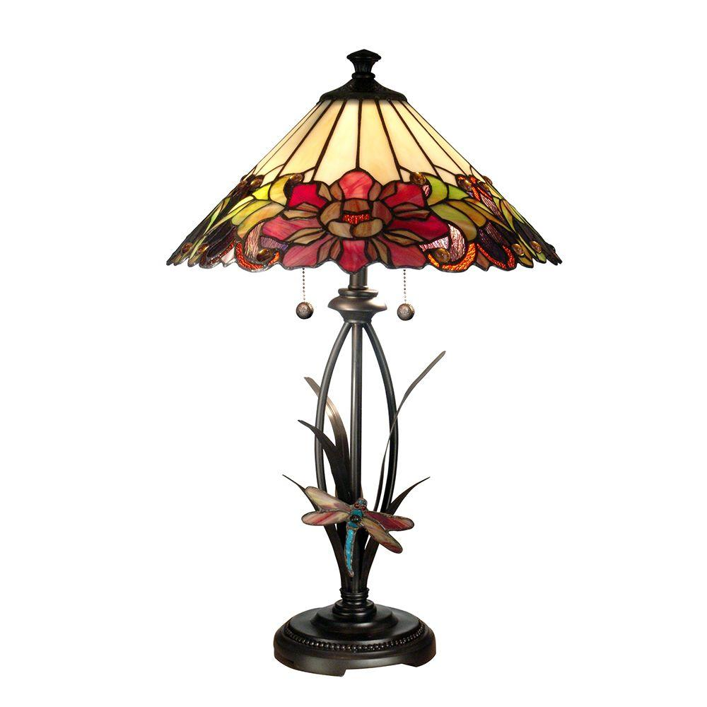 Dale Tiffany 25 in. Floral Art Glass Table Lamp with Dragongly Base