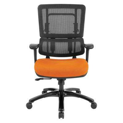 Vertical Black Mesh Back Chair with Shiny Black Base and Orange Mesh Seat