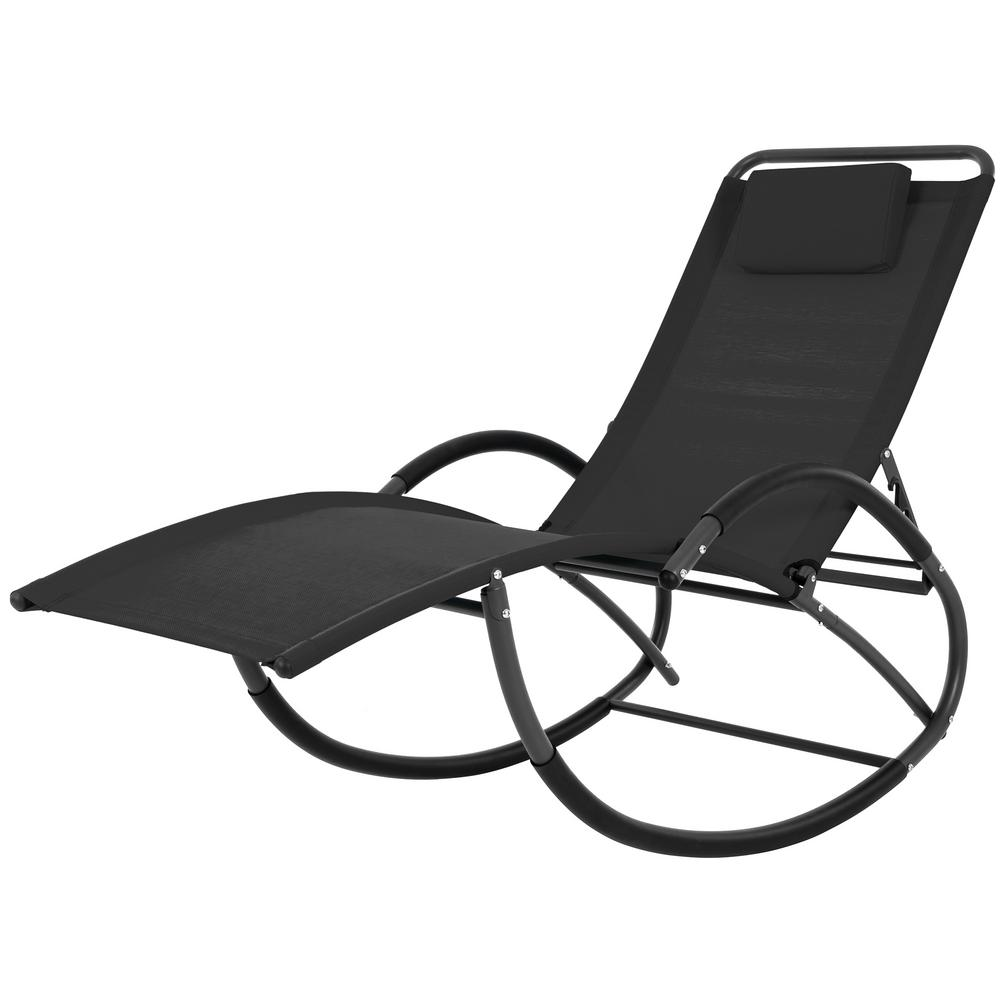 Wondrous Vivere Wave Black Steel Frame Reclining Sling Outdoor Rocker Squirreltailoven Fun Painted Chair Ideas Images Squirreltailovenorg