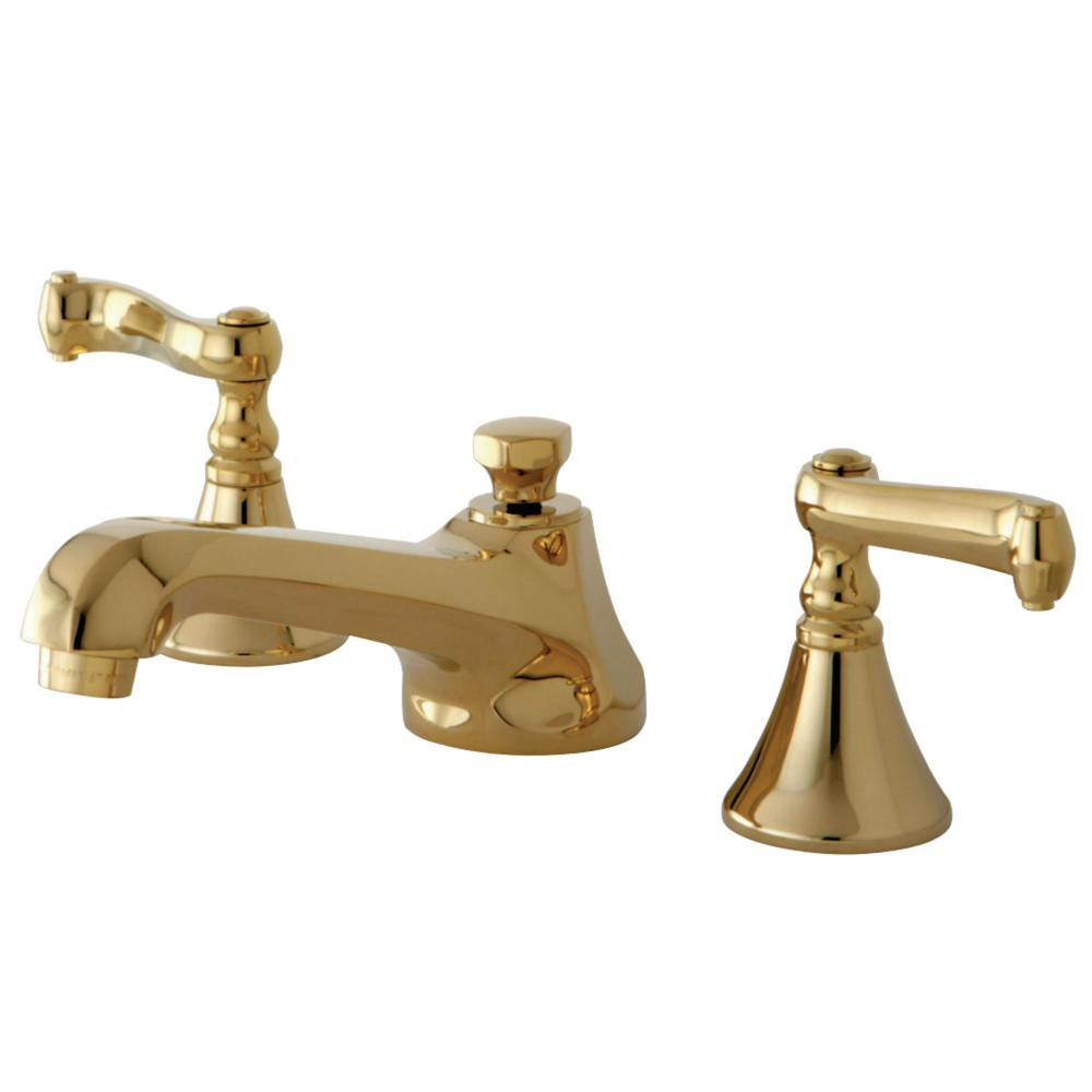 Kingston Brass Modern 8 In. Widespread 2-Handle Bathroom Faucet In Polished Brass-HKS4472FL